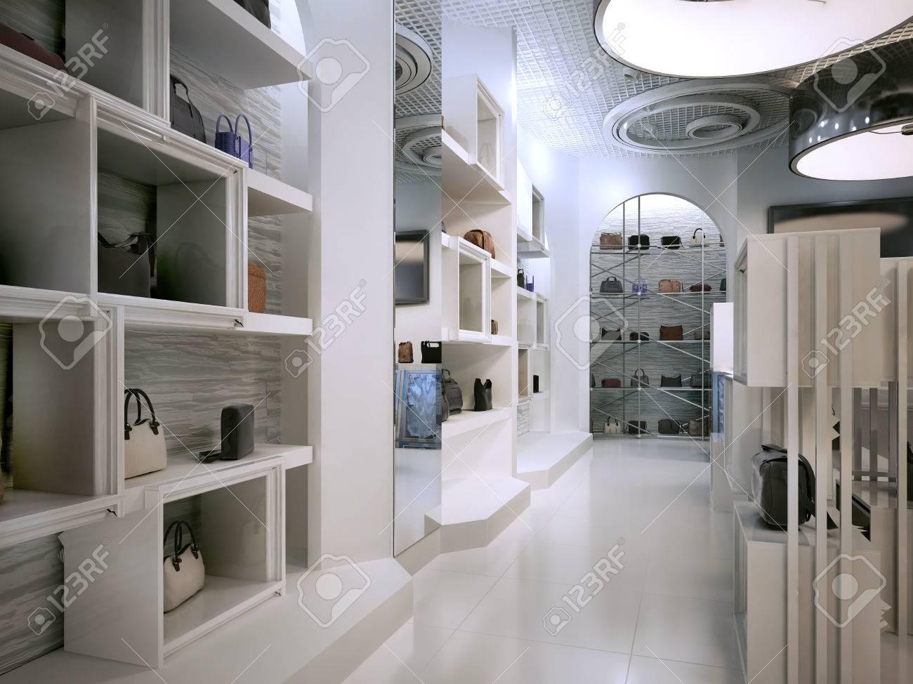 Magasin De Luxe Art De Design D intérieur De Style Déco Avec Des Notes De  Contemporain. Magasin Blanc Intérieur Avec Beaucoup D étagères. 5d140e02ef7e