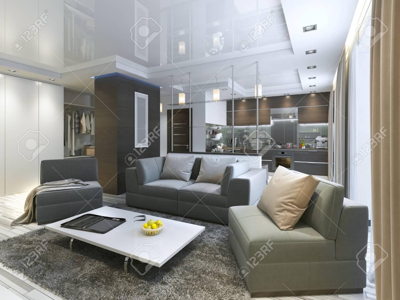 Studio de salon de luxe dans un style moderne avec des fauteuils  confortables et un canapé en vert olive. Studio avec cuisine et salle de  séjour et un ...