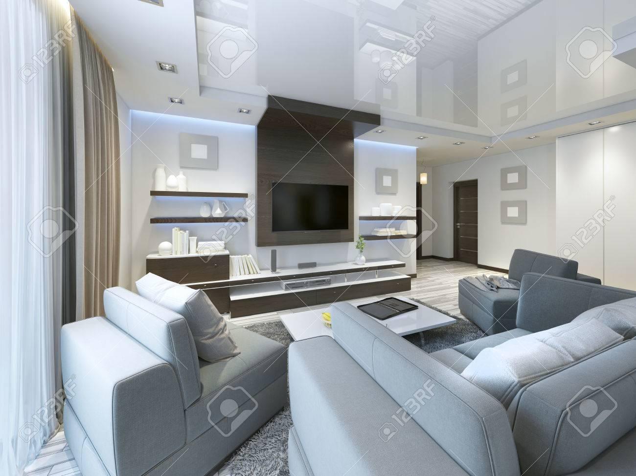 Audio System Mit TV Und Regale Im Wohnzimmer Im Modernen Stil.  Holzverblendung Möbel In