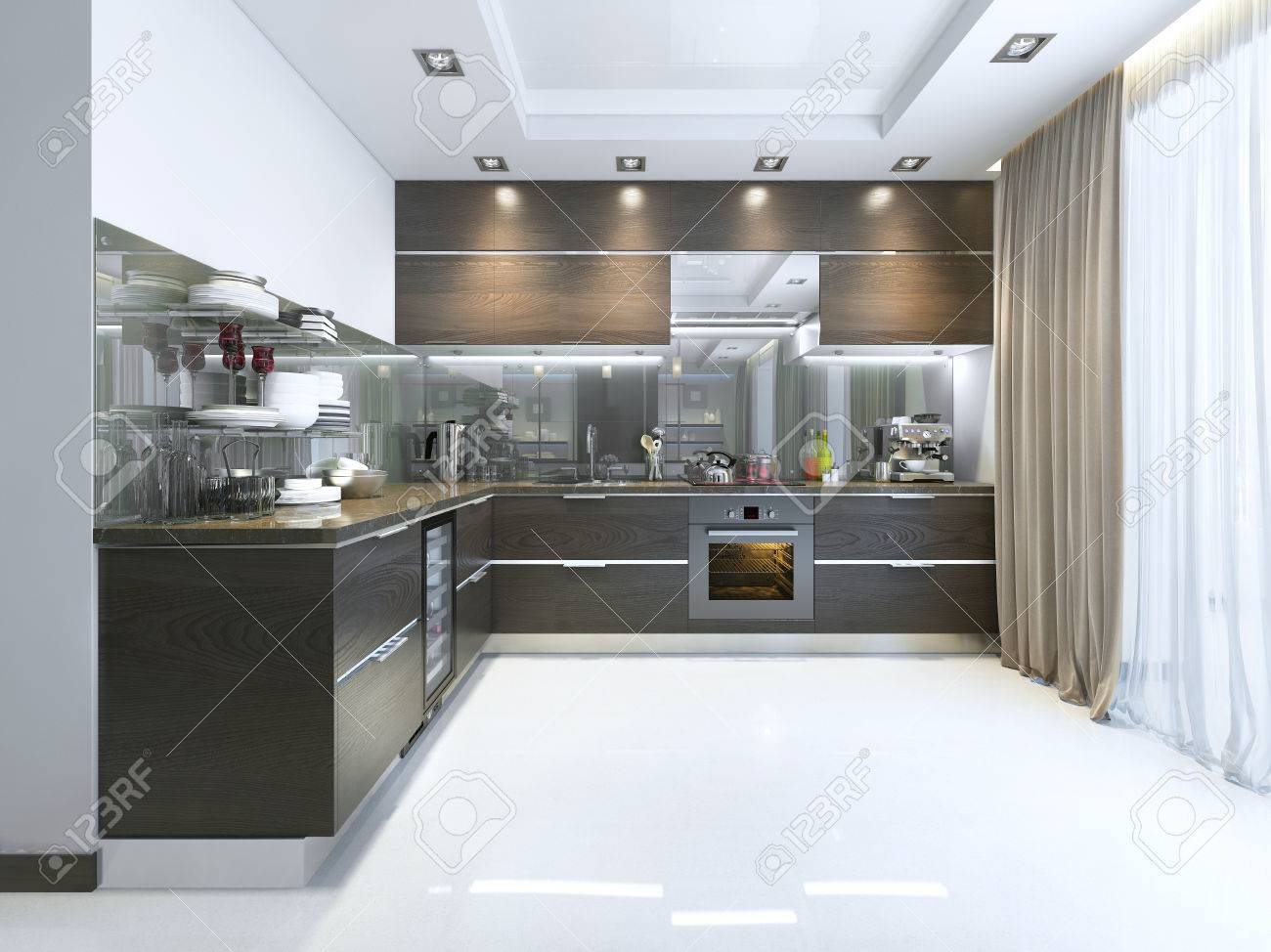 Kitchen-Contemporary in brown with white walls and marble floors. 3D render. - 64035174