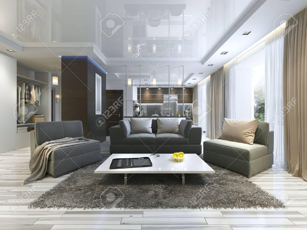 Luxus Wohnzimmer Studio In Einem Modernen Stil Mit Bequemen Sesseln