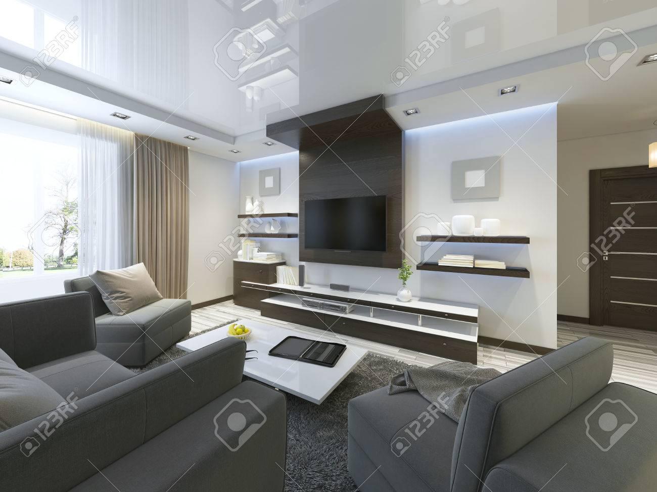 Schon Audio System Mit TV Und Regale Im Wohnzimmer Im Modernen Stil.  Holzverblendung Möbel In