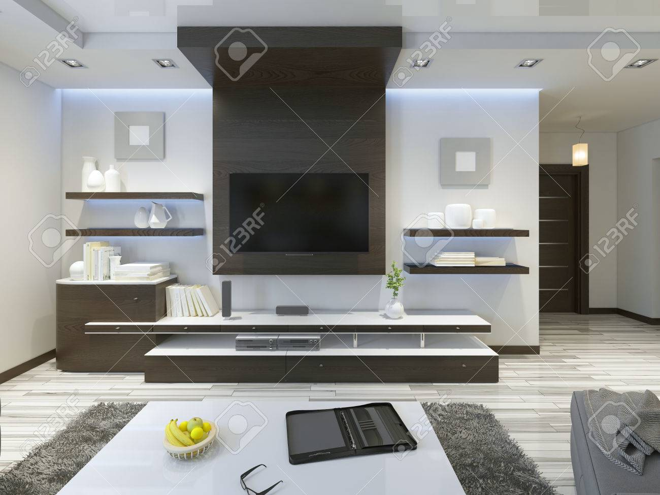 Marvelous Audio System With TV And Shelves In The Living Room Contemporary Style.  Wood Veneering Furniture