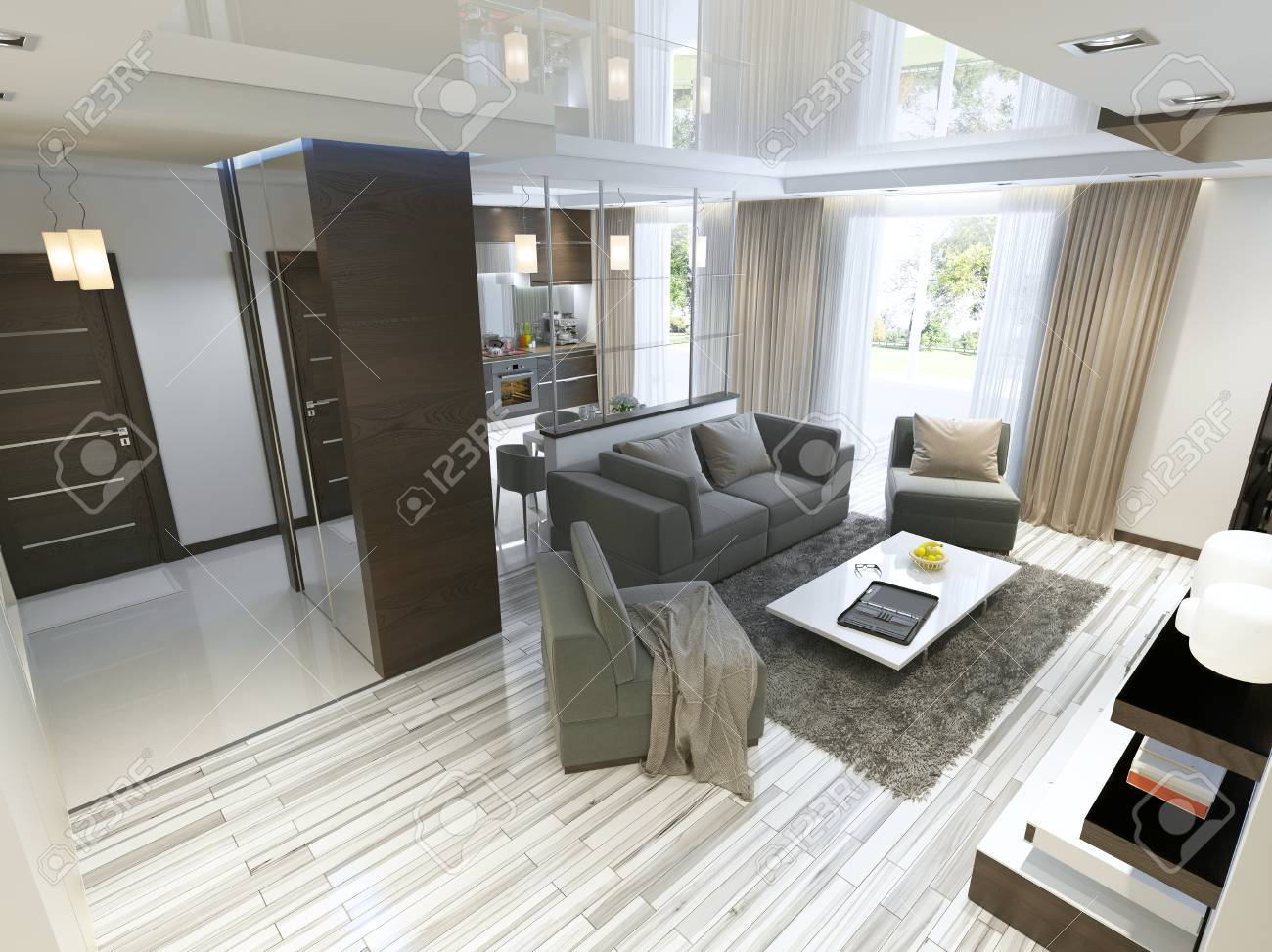 Luxe salon studio dans un style moderne avec des fauteuils confortables et  un canapé en vert olive. Studio avec cuisine et salle de séjour et un ...