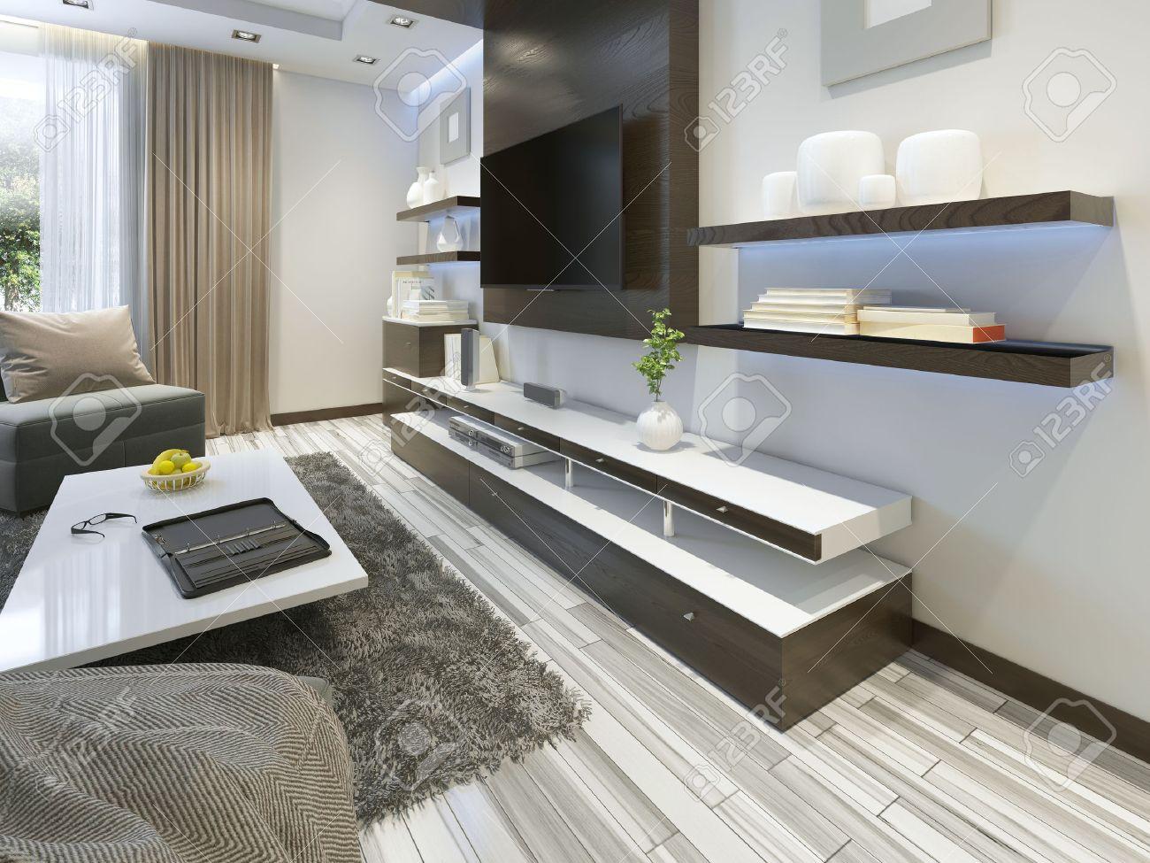 Hervorragend Audio System Mit TV Und Regale Im Wohnzimmer Im Modernen Stil.  Holzverblendung Möbel In