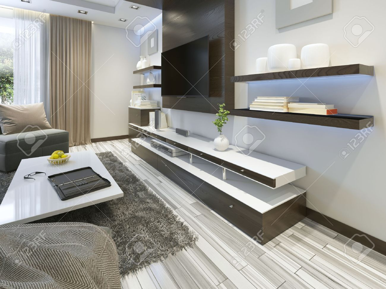 Audio System With TV And Shelves In The Living Room Contemporary Style.  Wood Veneering Furniture