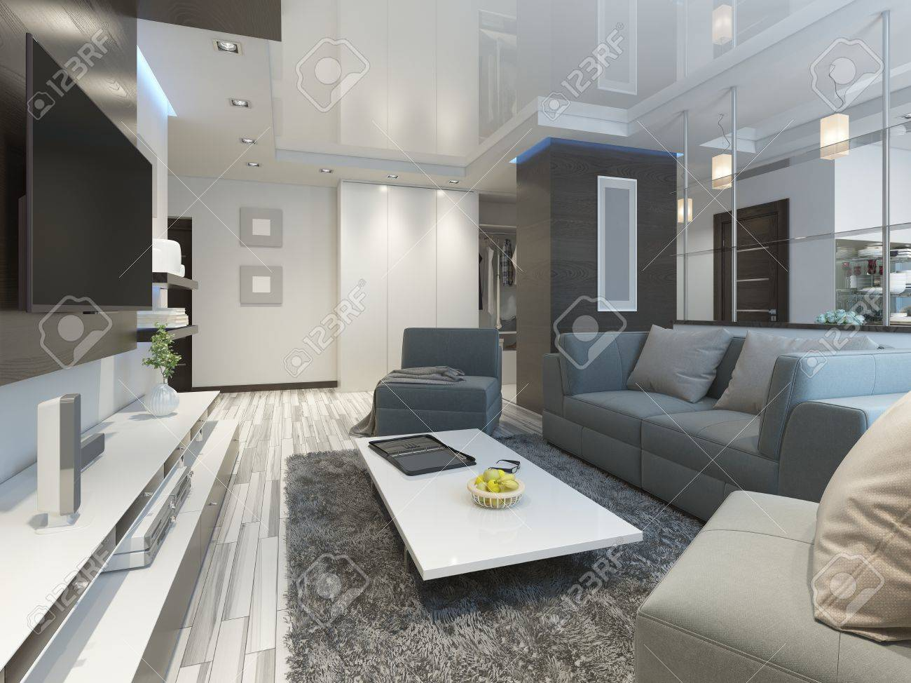 Luxury living room studio in a modern style with comfortable..