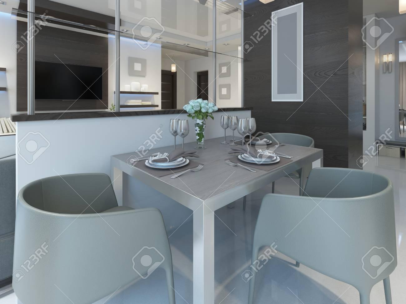 banque dimages dner dans un studio avec une table et des chaises pour trois personnes table manger servi dans un style contemporain rendu 3d