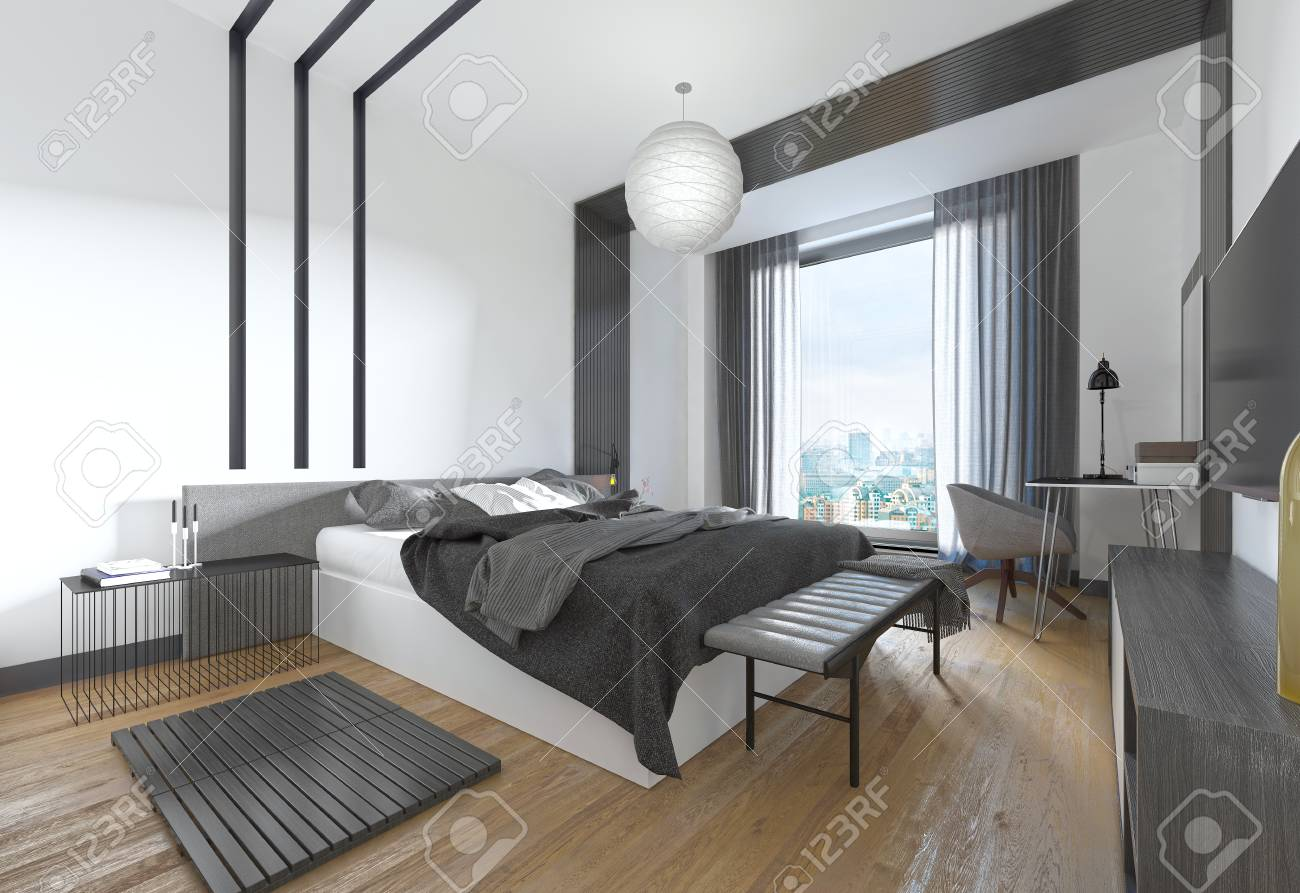 Luxurious, modern bedroom in contemporary style in black and..