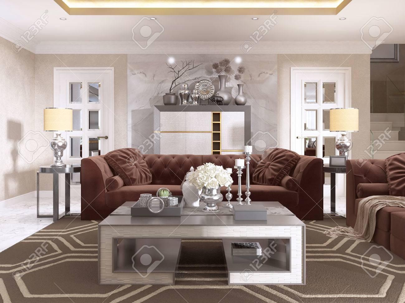banque dimages salon de style art dco avec des meubles design rembourrs avec un plafond dor et les murs en pltre vnitien rendu 3d