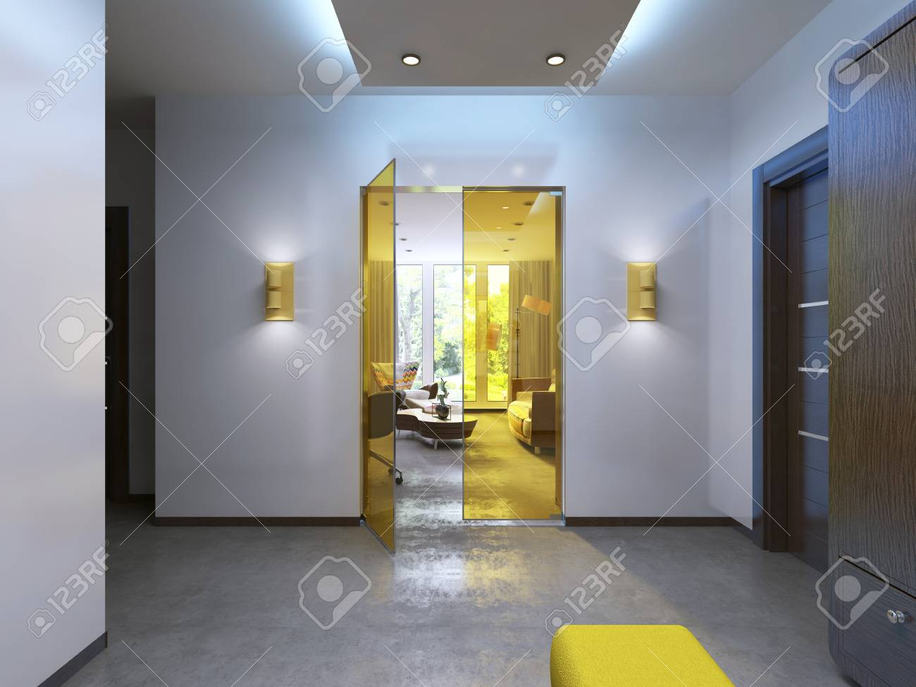Modern Lobby Hallway In The Contemporary Style Brown Furniture