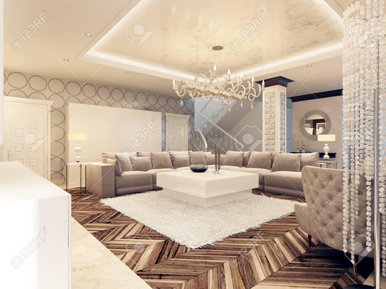Luxe Design Fauteuils.Design Art Deco De Luxe Salon Lumineux Avec Grand Canape D Angle Et Deux Fauteuils Conception 3d