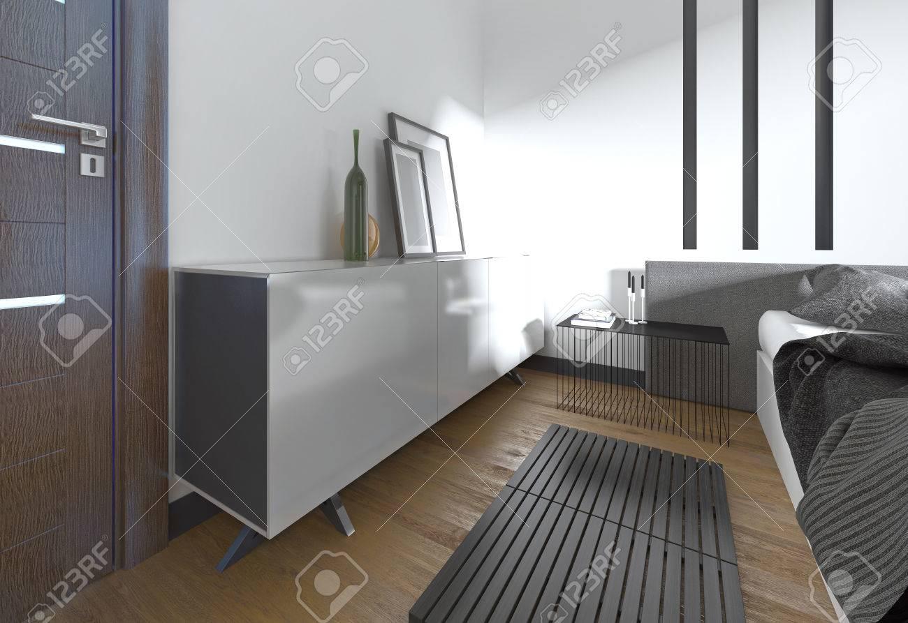Comò Camera Da Letto Moderna : Moderna comò bianco con decorazioni in camera da letto rendering