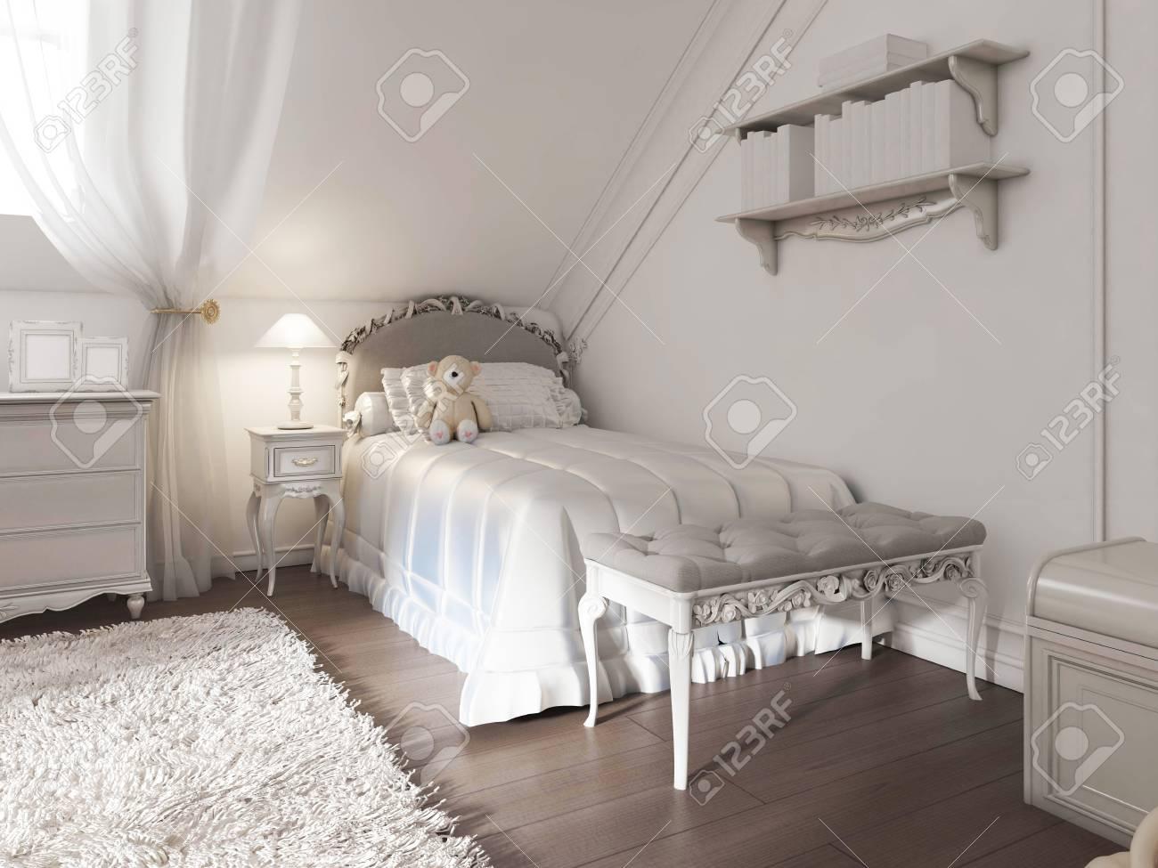 Kinder Weissen Bett Mit Decke Und Kissen Im Art Deco Stil Das Bett