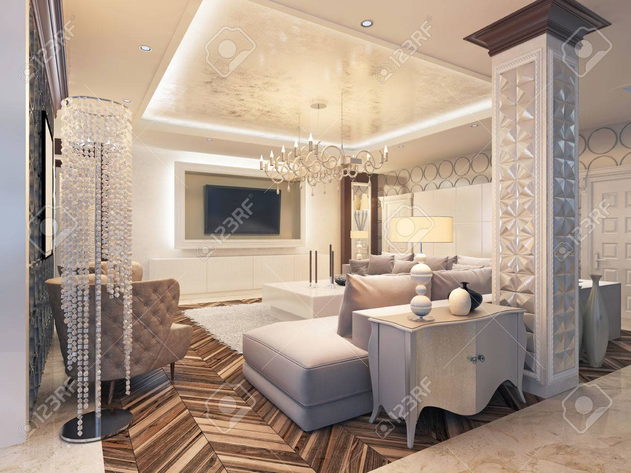 Modern living room in white colors with integrated storage for..