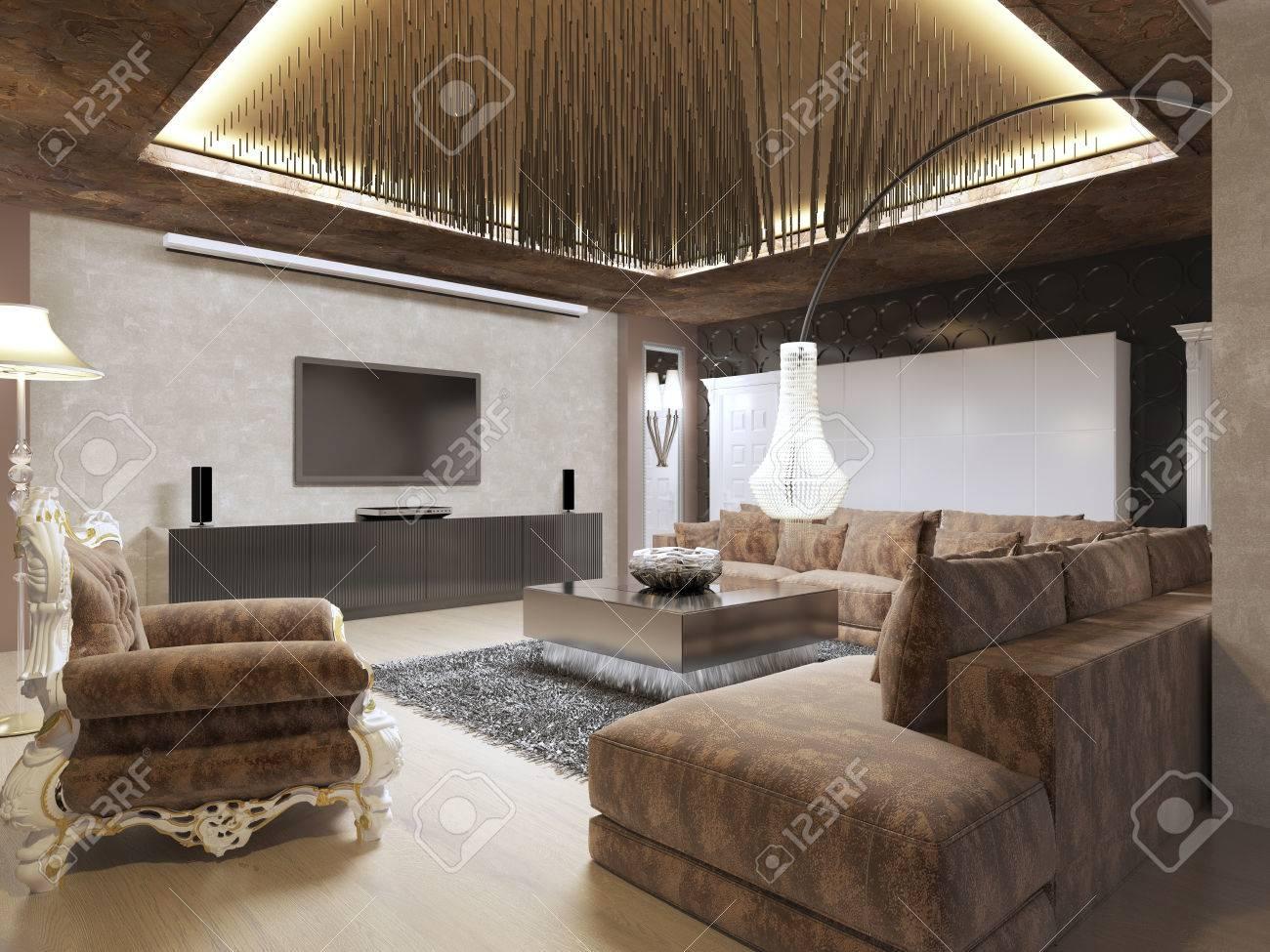 Luxus Modernen Wohnzimmer Im Art Deco-Stil In Dunklen Brauntönen ...