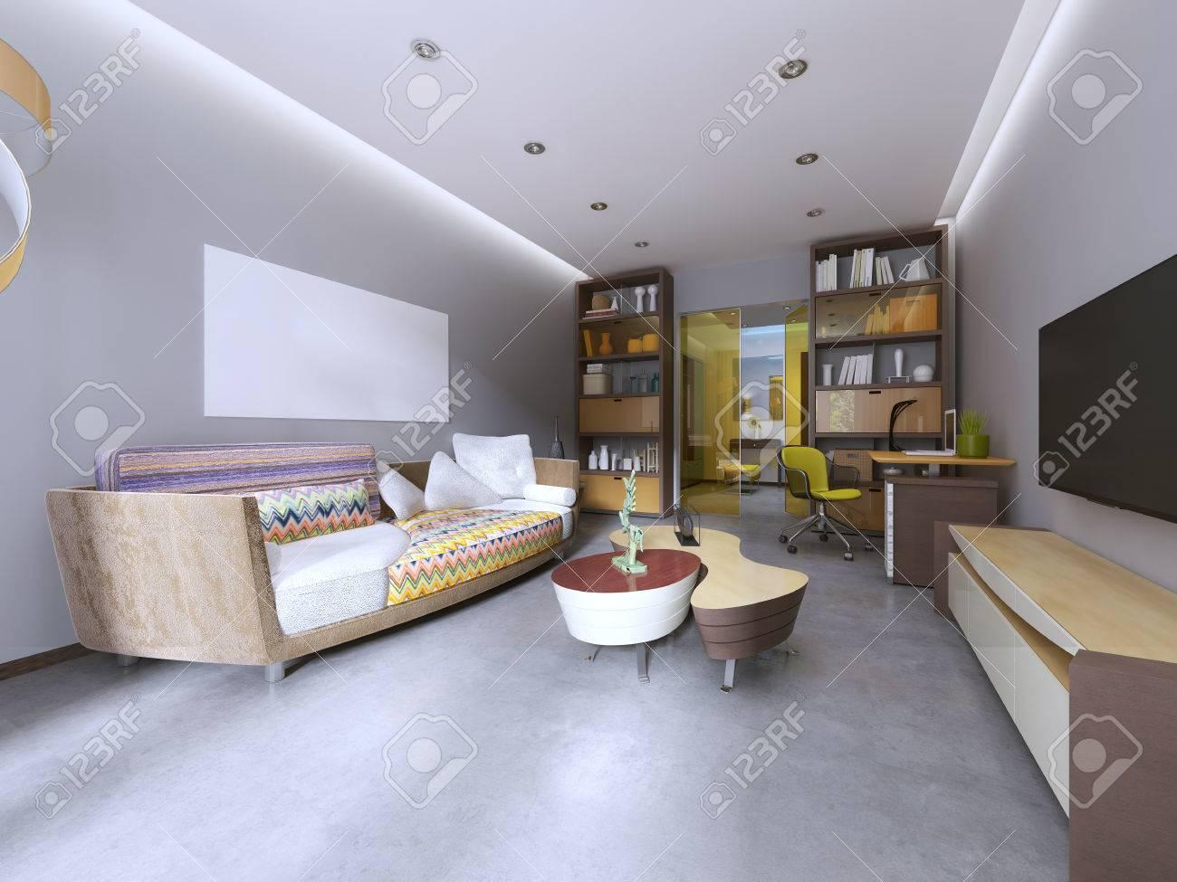 Moderne Wohnzimmer In Kitsch-Stil, Mit TV-Gerät, Bücherregal Und ...