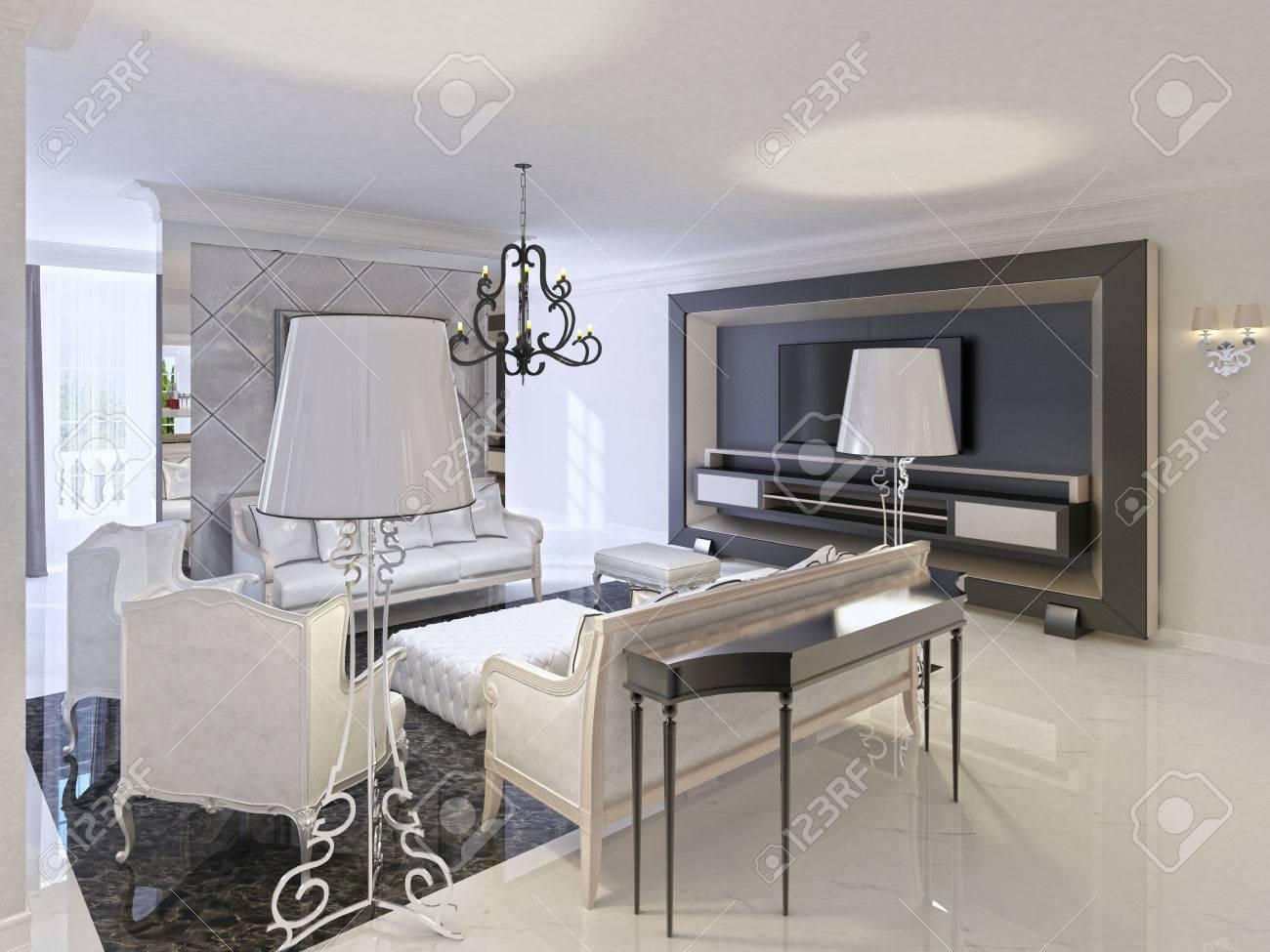 Diseño De La Sala De Estar Con Muebles Art Deco Sofá Blanco Negro ...