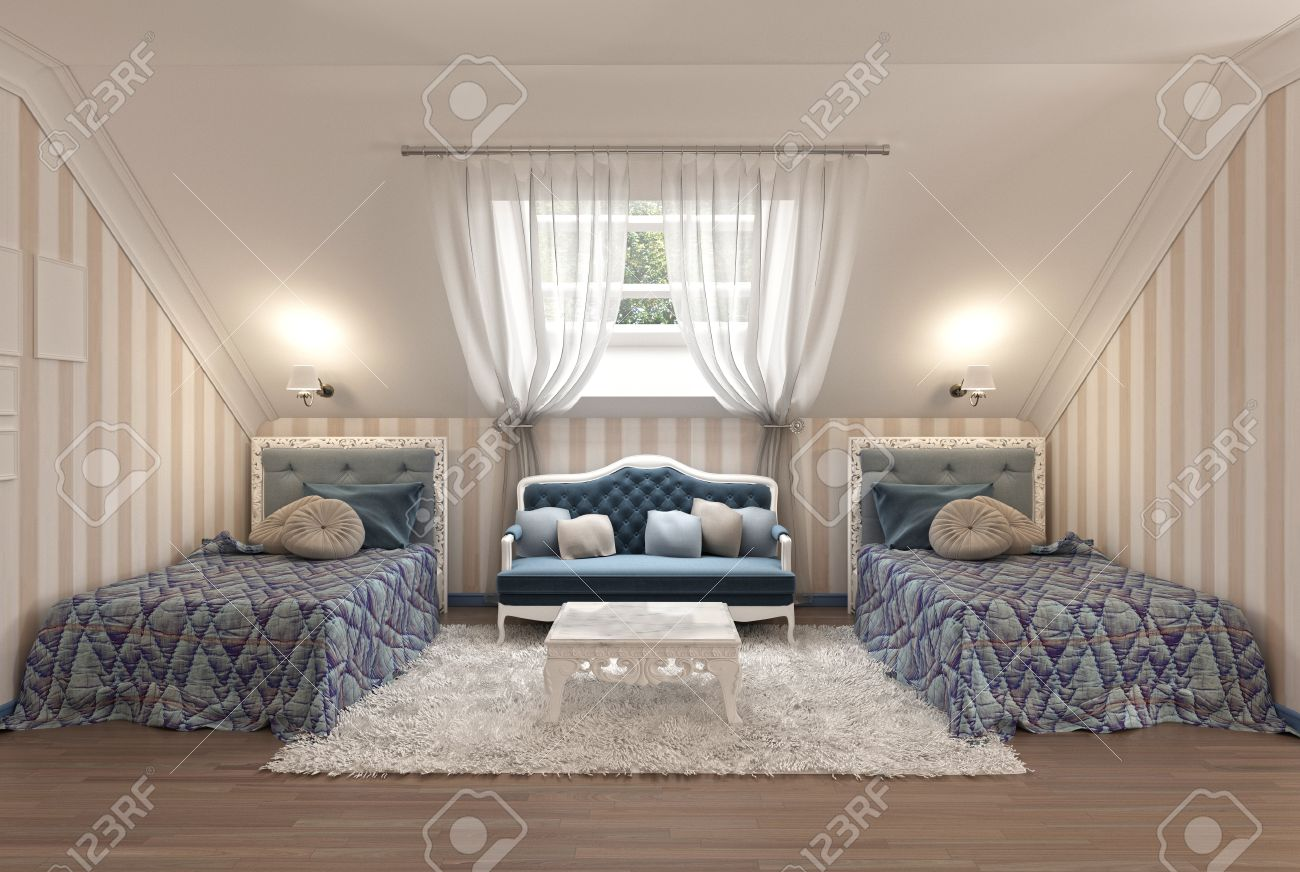 Luxus Kinderzimmer Für Zwei Kinder Mit Zwei Einzelbetten In Blau Und Milch  Farbe. 3D