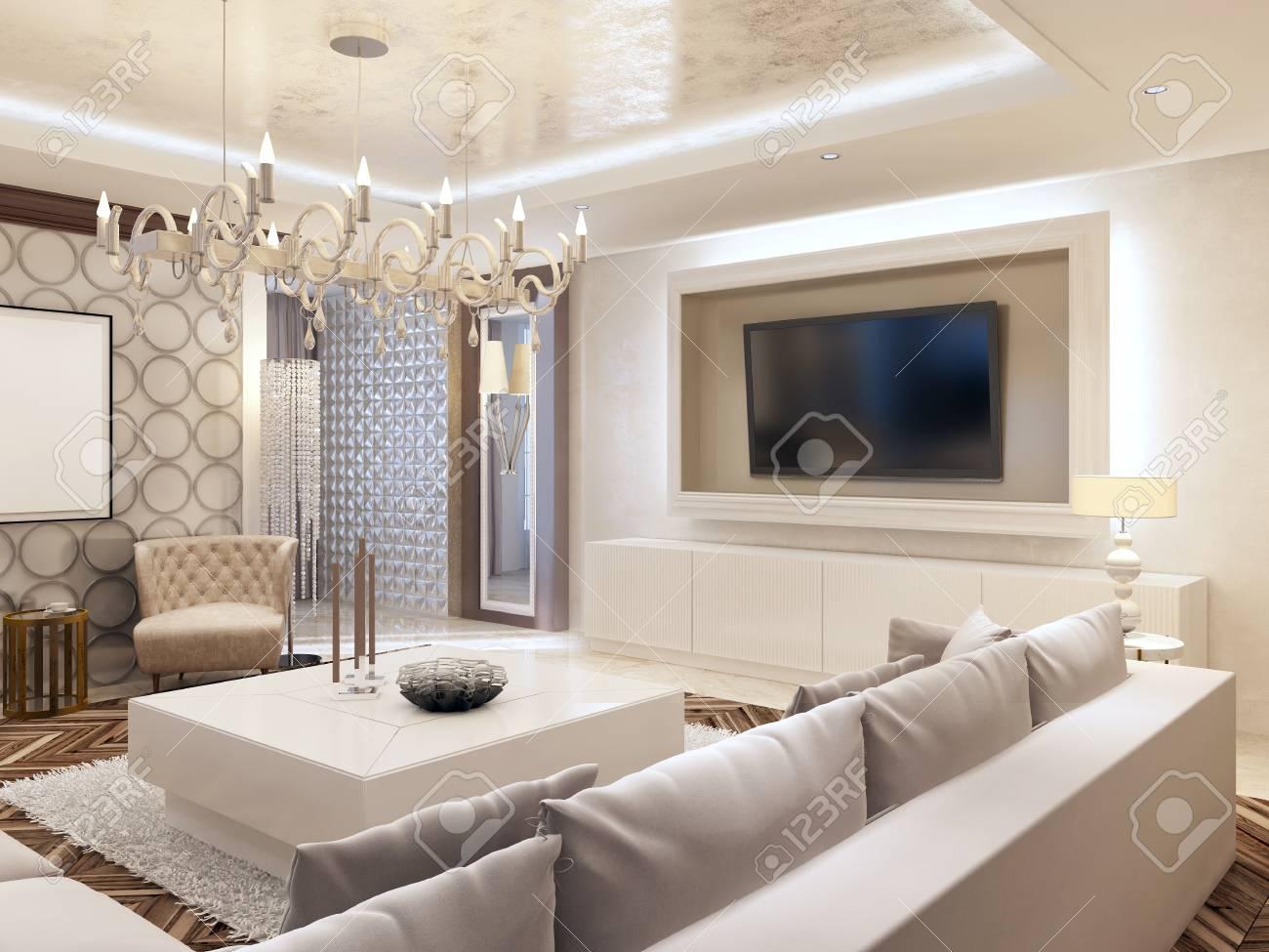 Moderne woonkamer in witte kleuren met geïntegreerde opslag voor
