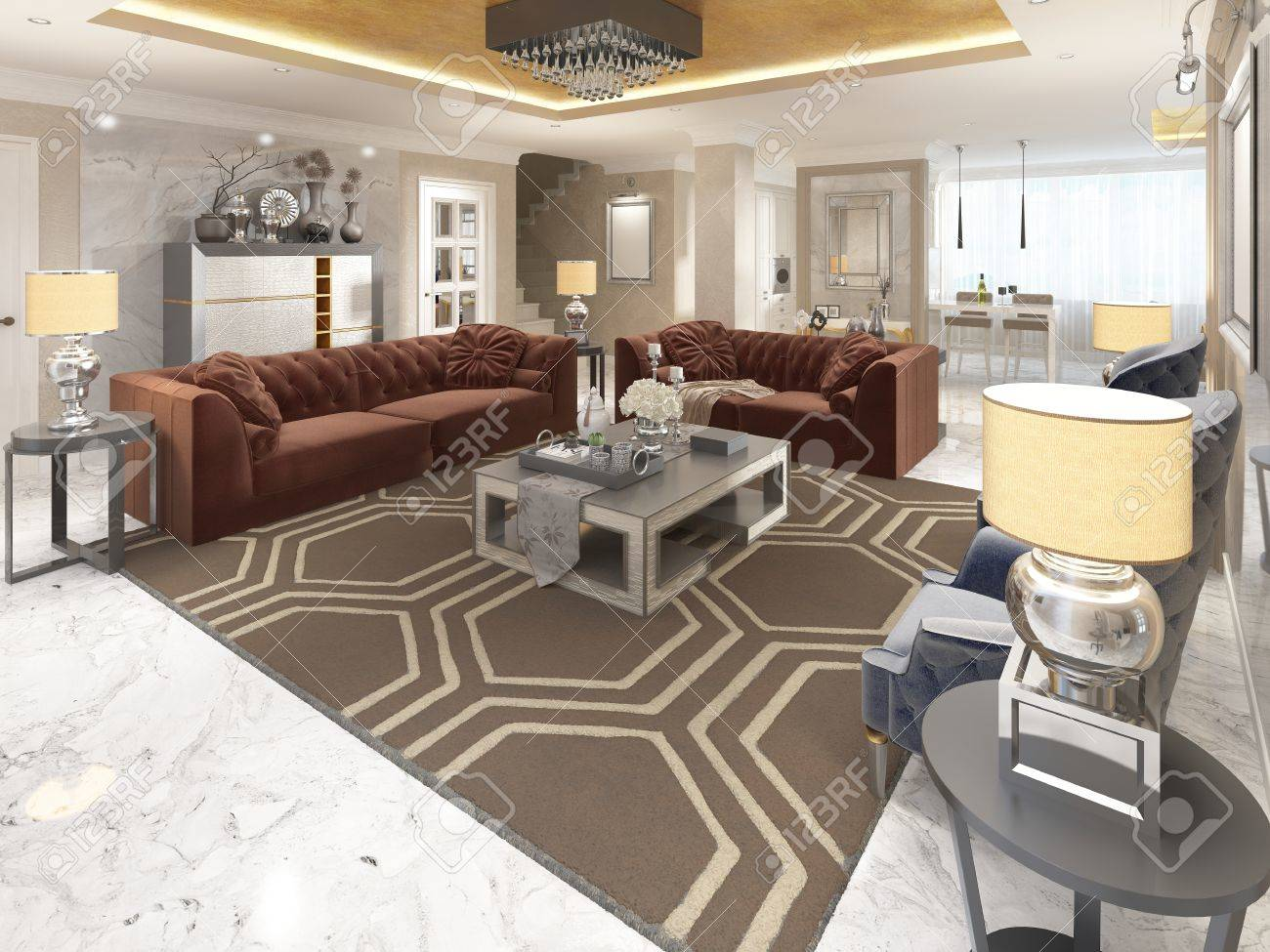 Luxury designer apartment studio in art deco style living area blending smoothly into the