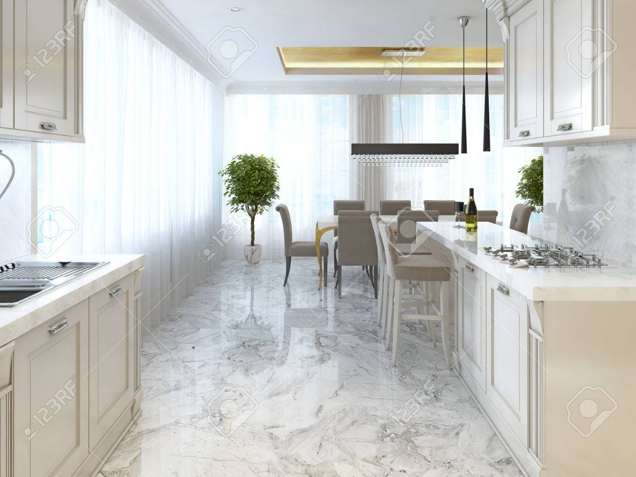 Luxury kitchen with opaline furniture in art Deco style. With..