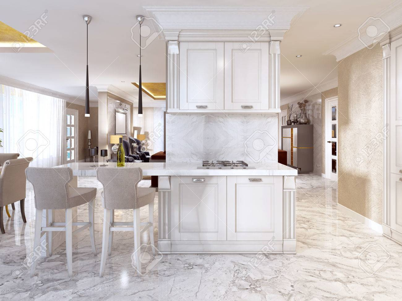 Bar counter with bar chairs in luxurious kitchen in the style..