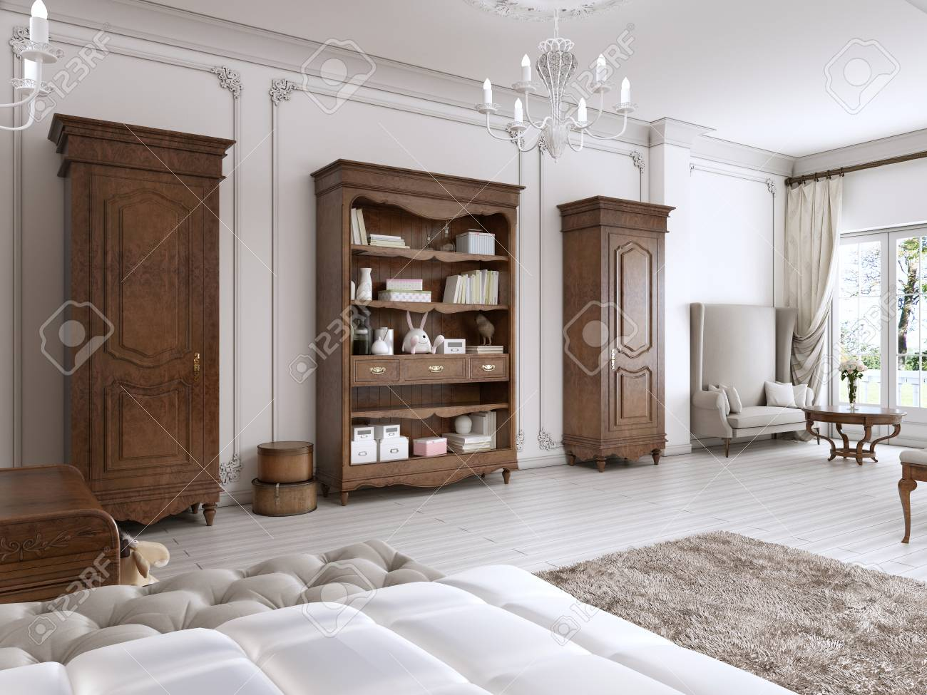 Künstlerisch Möbel Für Kinderzimmer Ideen Von Standard-bild - Zwei Klassische Garderobe Und Regale