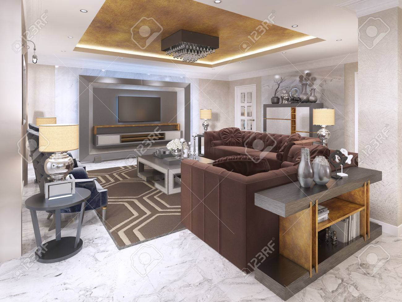 Luxurious living room in art Deco style with purple sofas and..