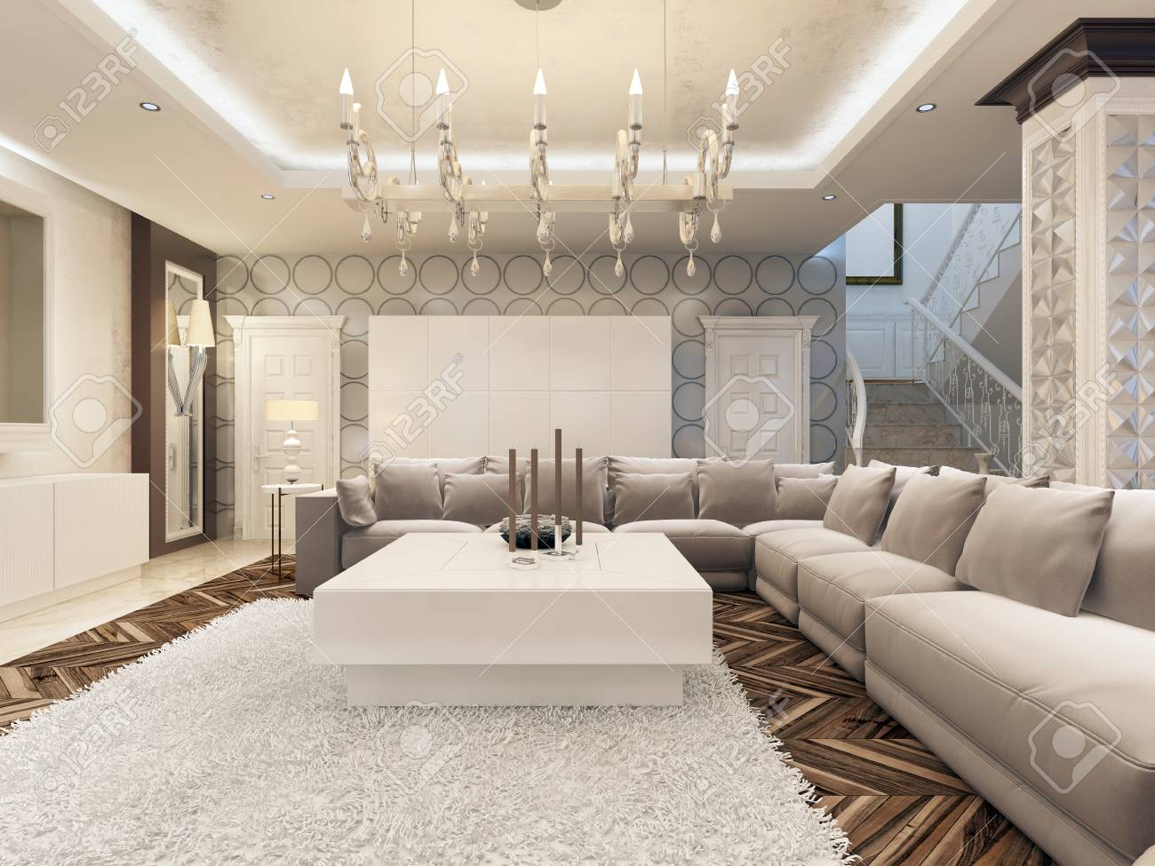 Luxury Art Deco Design Bright Living Room With Large Corner Sofa And Two  Armchairs. 3D