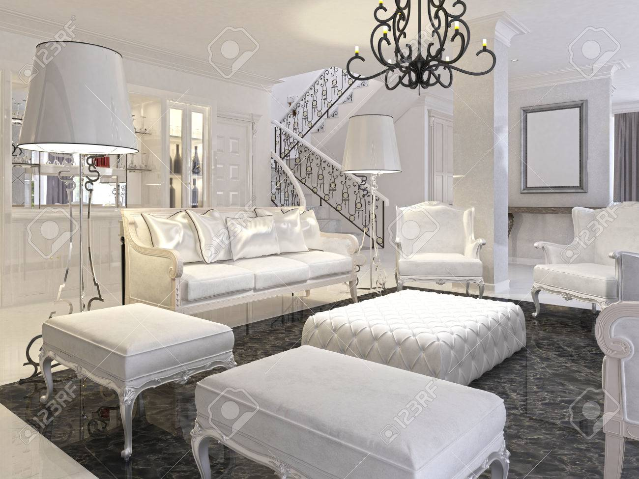 Luxury White Living Room With White Furniture And Black Marble