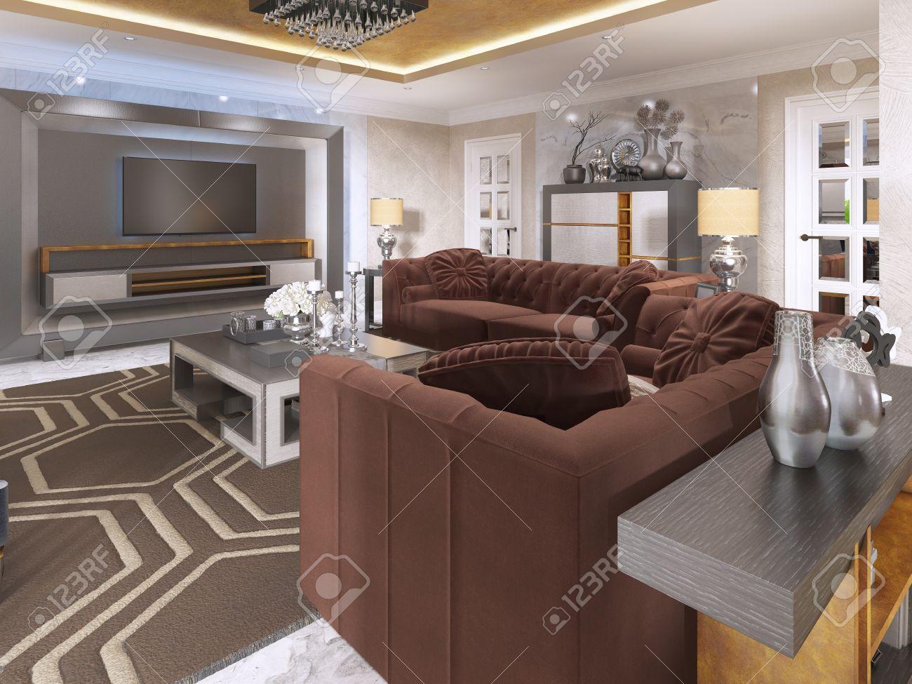 Lussuoso soggiorno in stile art déco con divani viola e poltrona e