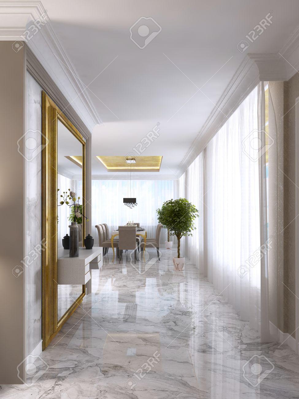 Grand Miroir D Entrée hall d'entrée de luxe art-déco avec un grand miroir design dans un cadre  doré et intégré dans le décor de la console. rendu 3d.