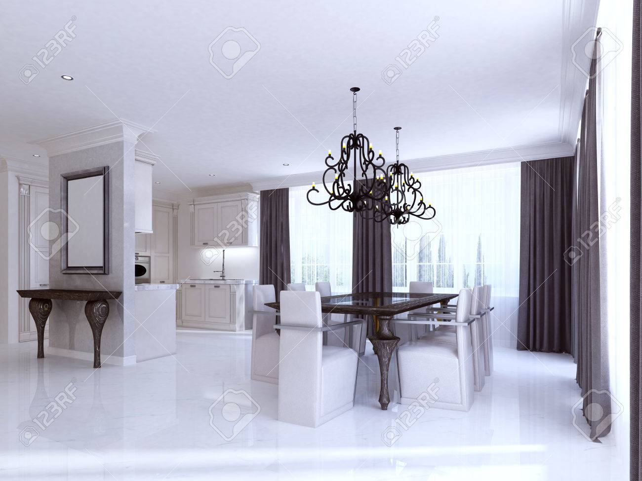Classic White Kitchen Dining Room In The Style Of Art Deco. Large Dining  Table