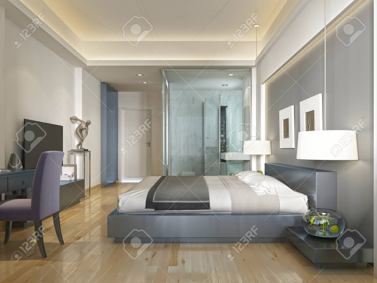 Habitación de un hotel moderno, con una cama grande, estilo contemporáneo  con elementos del arte Deco. nicho decorativo en la pared con la  iluminación
