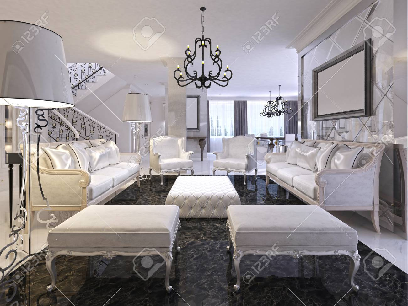 Luxury white living room with white furniture and black marble..