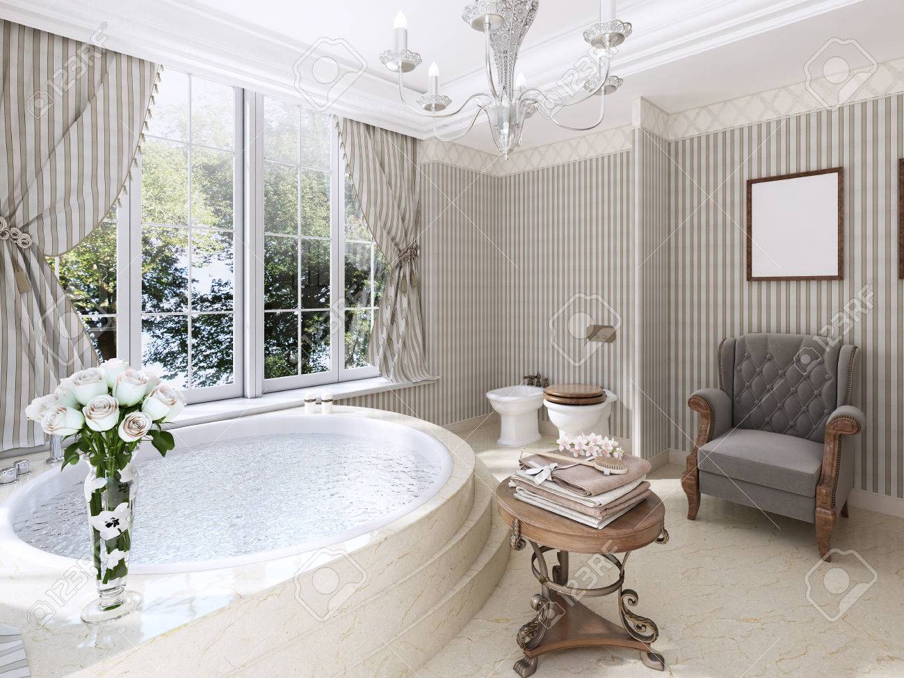 Grande Baignoire Ronde Dans La Salle De Bains Dans Un Style ...