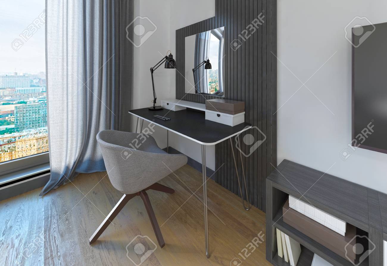 Dressing Tavolo E Sedia In Una Camera Da Letto Moderna L Area Di