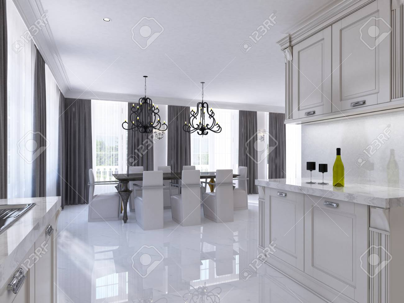 Classic White Kitchen-dining Room In The Style Of Art Deco. Large ...