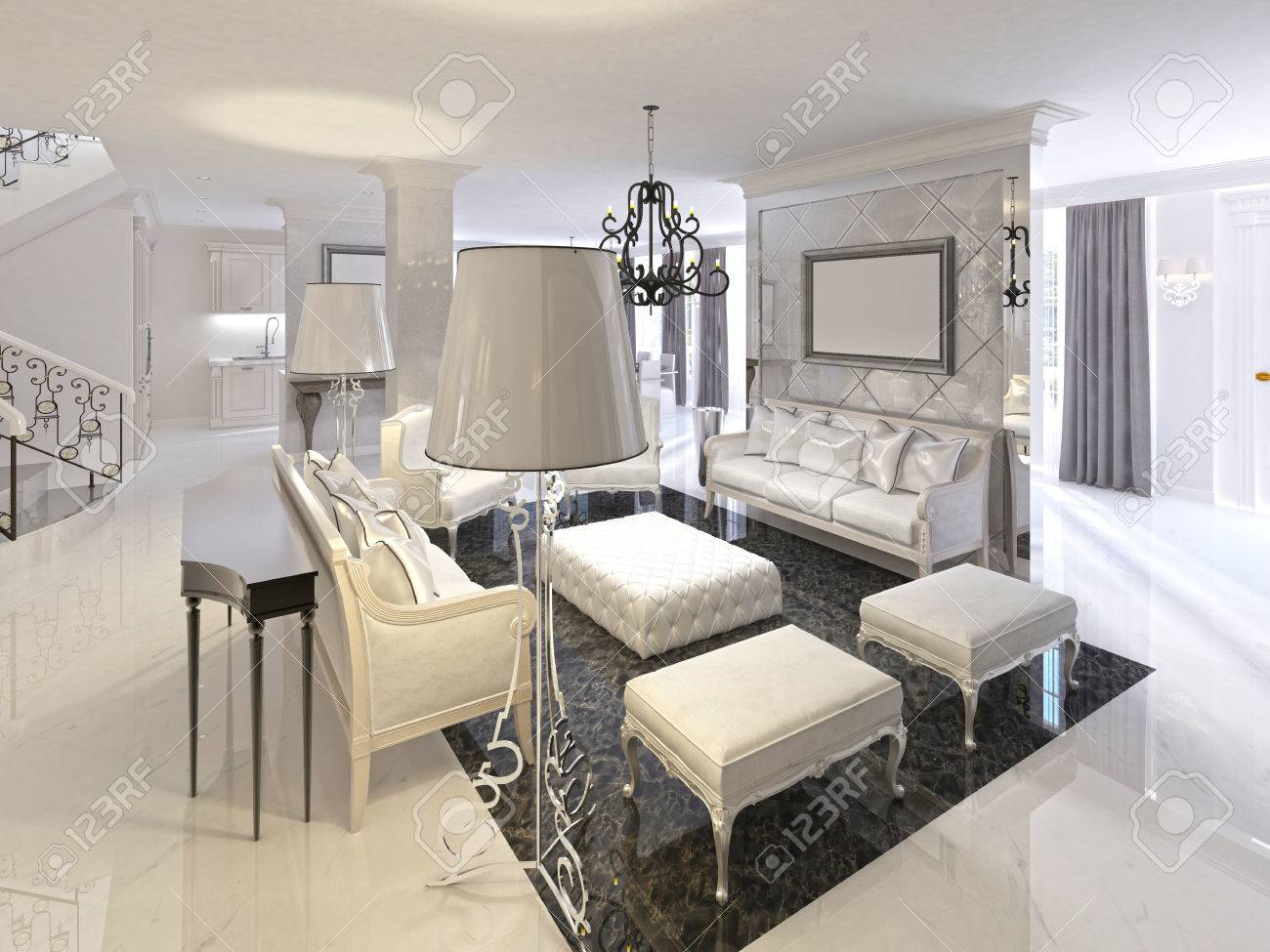 Art Deco living room design with white furniture black console..
