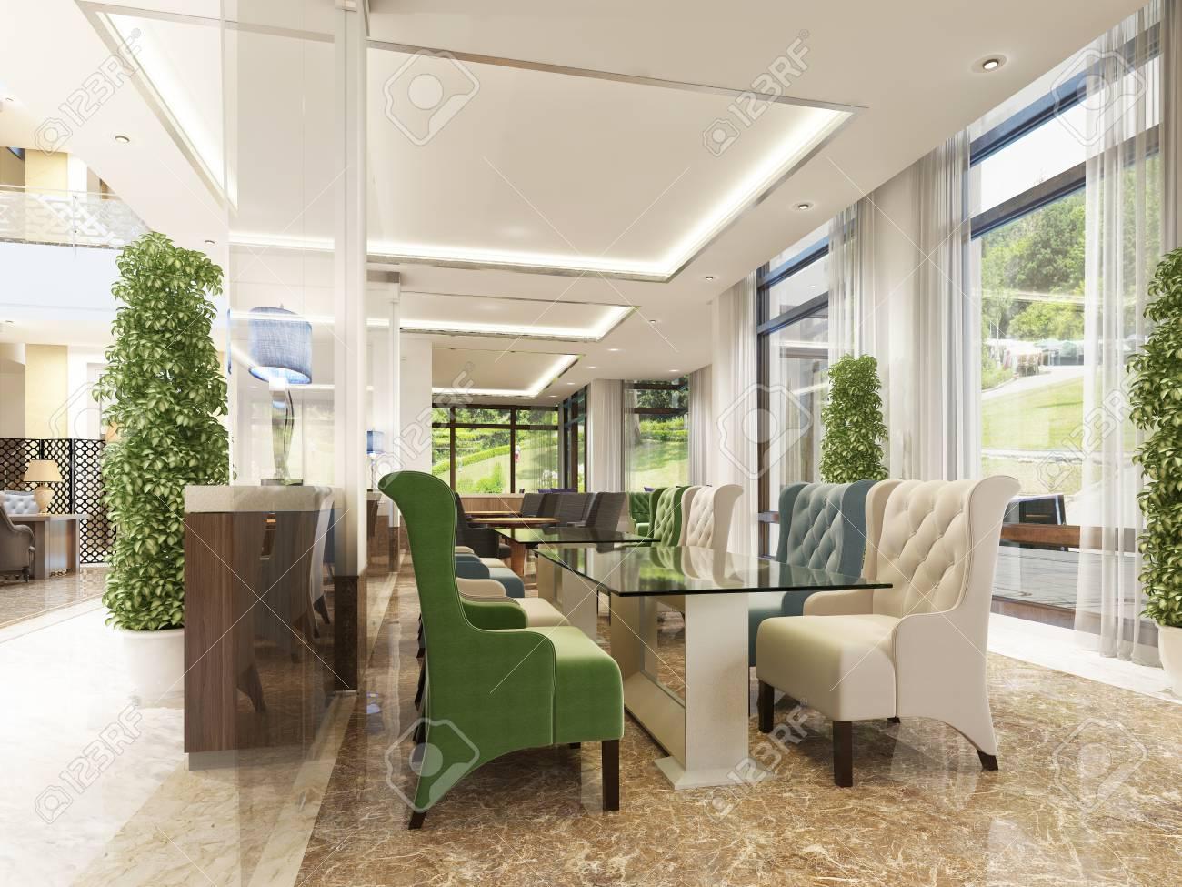 Le Design Intérieur De L\'hôtel, Salle De Petit Déjeuner Et Bar à ...