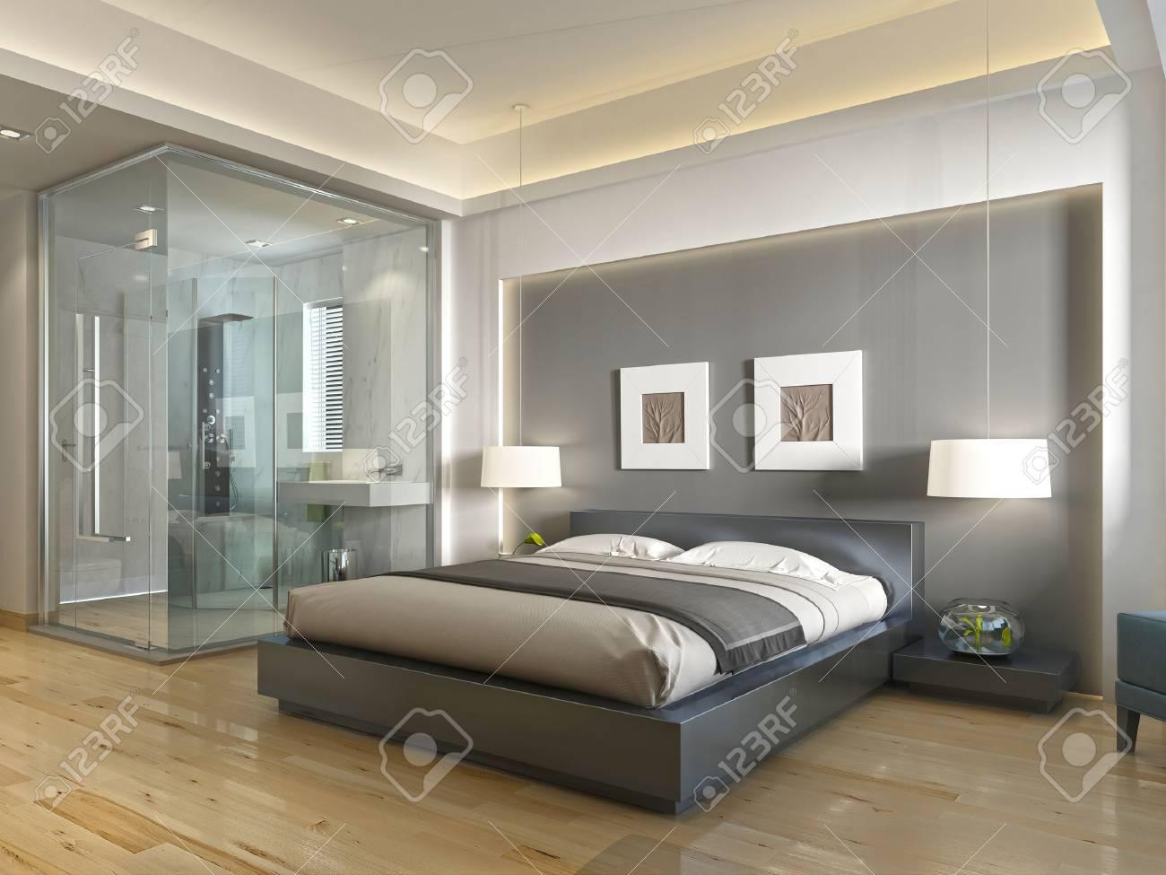 Moderne Chambre D H Tel Avec Un Grand Lit Un Style Contemporain