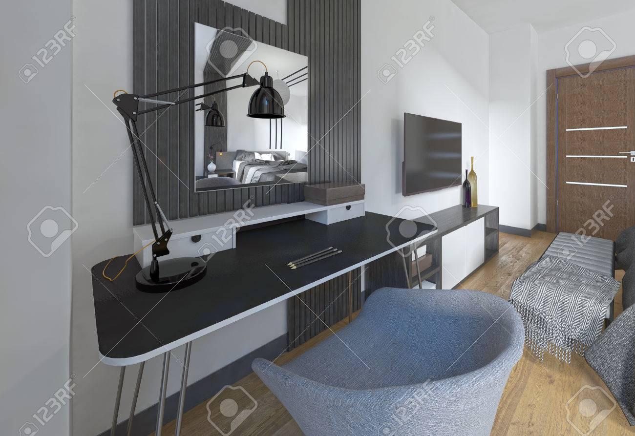 Dressing tavolo e sedia in una camera da letto moderna. L\'area di lavoro è  realizzato in un design contemporaneo. 3D render.