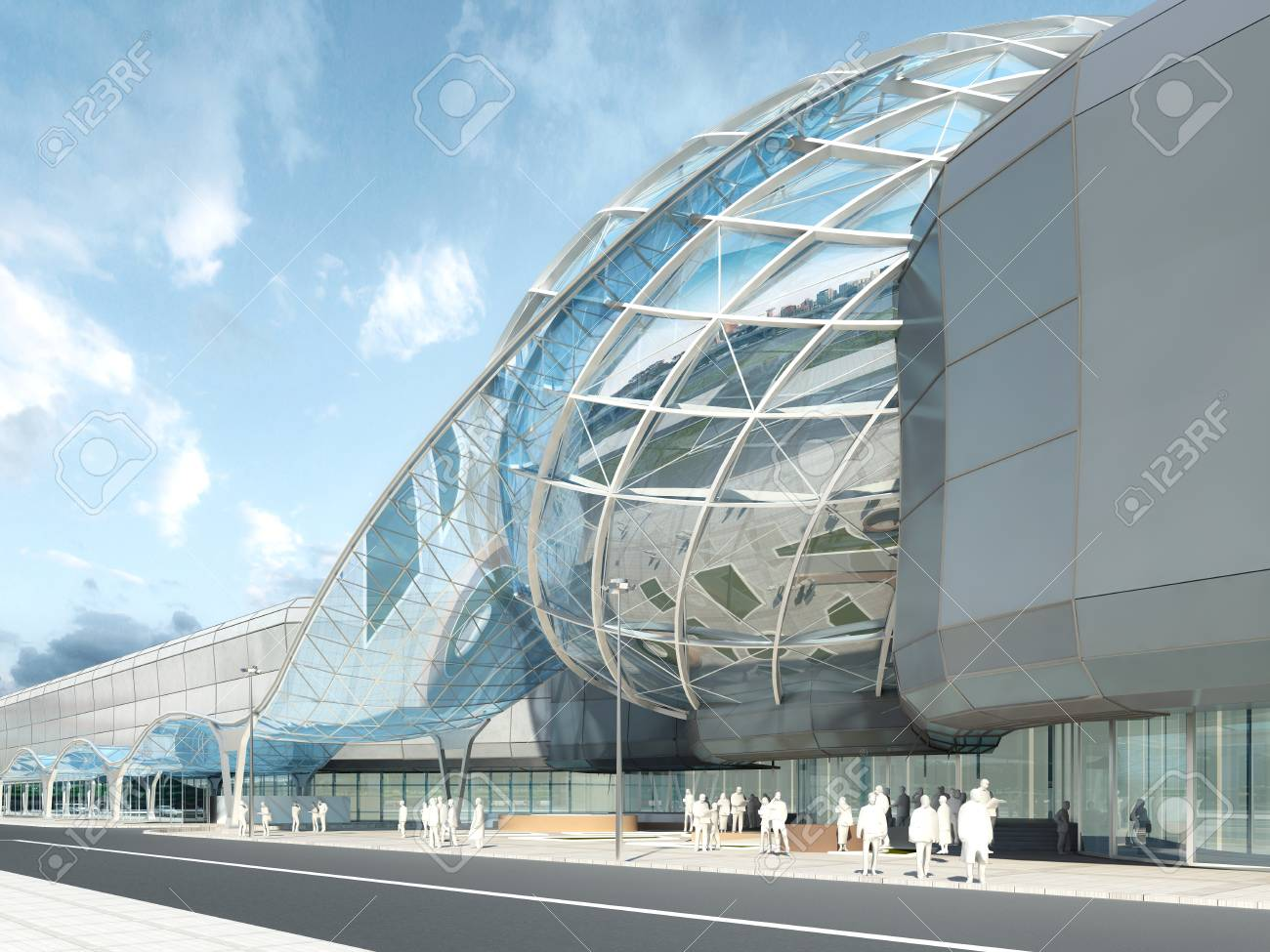 Futuristic Modern Design Mega Mall Glass And Steel Dome Wavy Shape 3D Render