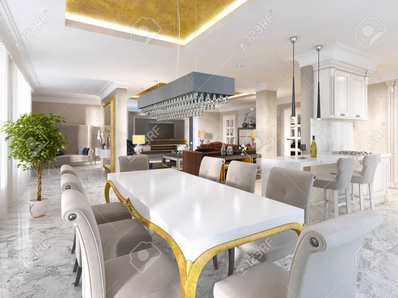 Grande table à manger pour huit personnes dans le style de l art