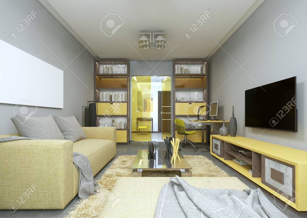 Design modern living room in grey and yellow colors 3d render stock photo