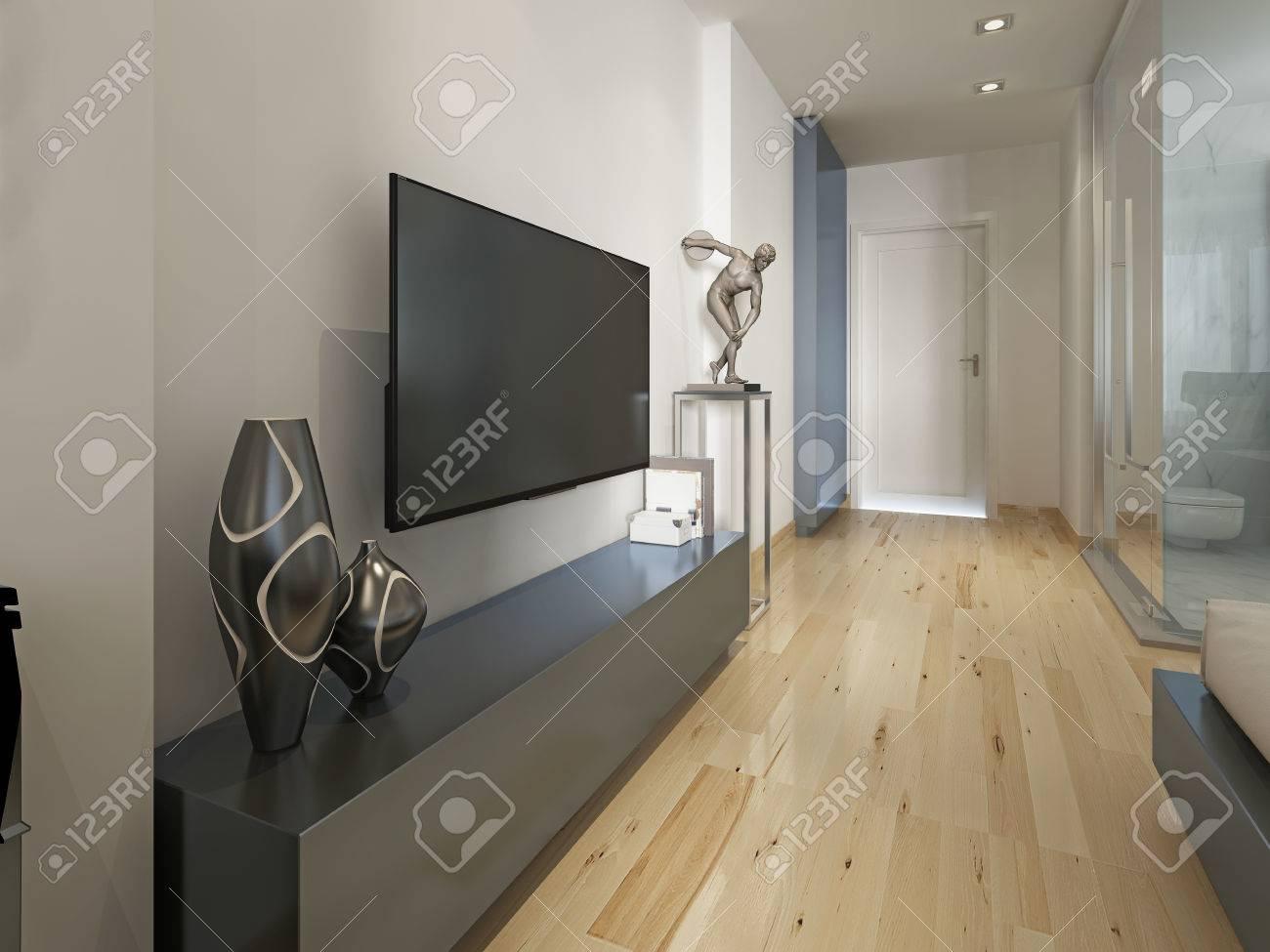 Modern TV unit with the decor figurine, modern living room. 3D..