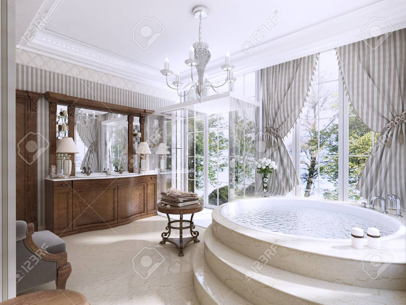 Baño De Lujo En Estilo Clásico. Cuarto De Baño Con Jacuzzi, Ducha Y ...