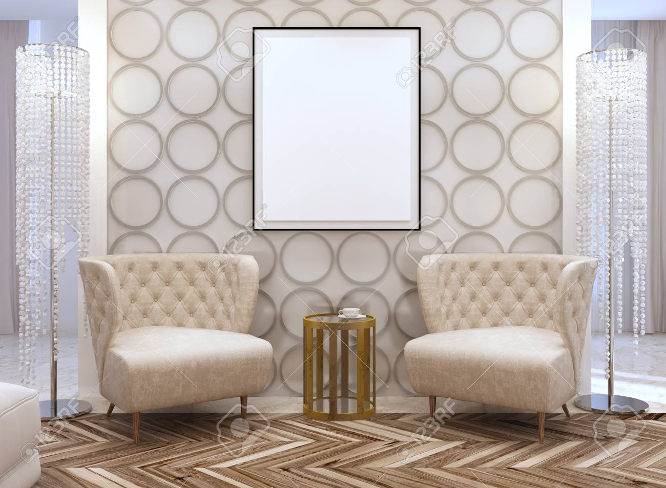 Seating area in the living room in the style of art Deco. Designer..
