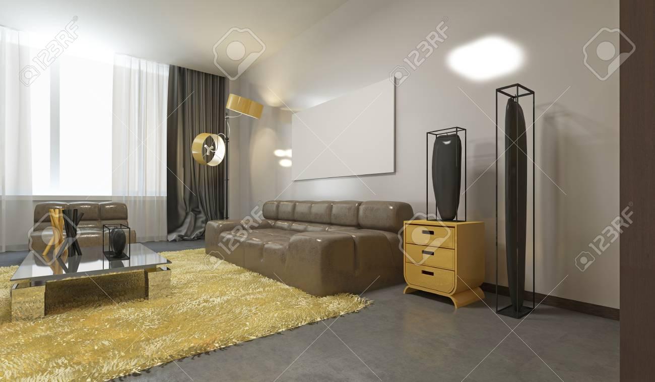 Luxueux Salon Contemporain En Gris Pâle, Jaune Et Marron. Canapé En ...
